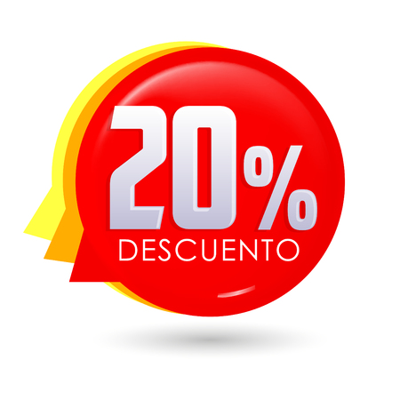 20% Descuento, 20% discount spanish text, bubble sale tag vector illustration, Offer price label.