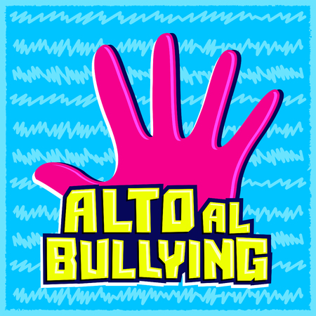 Alto al Bullying, Stop Bullying spanish text, vector emblem illustration