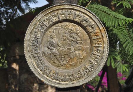 Ancient Mexican colonial carved copper tray Foto de archivo