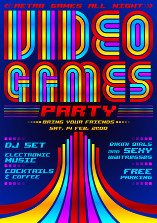 Video Games party, poster event template, eighties games style vector illustration