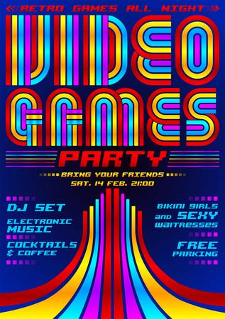 Videogames partij, poster evenement sjabloon, jaren tachtig games stijl vectorillustratie Vector Illustratie