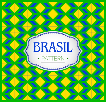 Brasil pattern, Background texture and emblem with the colors of the flag of Brazil 向量圖像