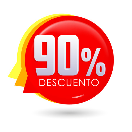 90% Descuento, 90% discount spanish text, bubble sale tag vector illustration, Offer price label.
