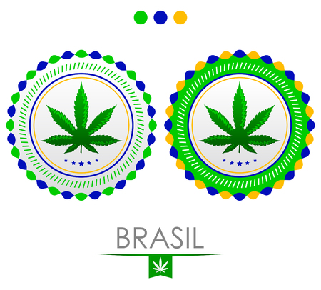 Brazil marijuana emblem, vector cannabis seal of approval with the colors of the flag of Brazil