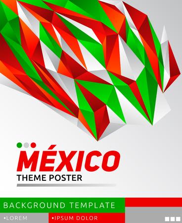 Affiche moderne de thème Mexique, illustration de modèle vectoriel, couleurs du drapeau mexicain