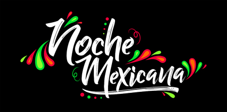 Noche mexicana, Mexican night spanish text, banner vector celebration Vettoriali