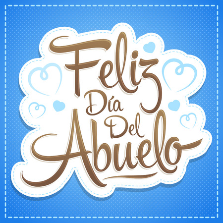 Feliz dia del abuelo, Happy grandparent day spanish text, vector illustration lettering design 向量圖像