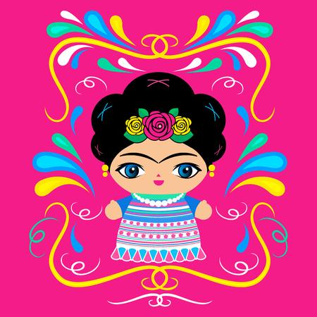 装飾的背景ベクトルイラスト付きメキシコ人形