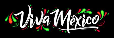 Viva Mexico, vacanza tradizionale frase messicana, lettering illustrazione vettoriale