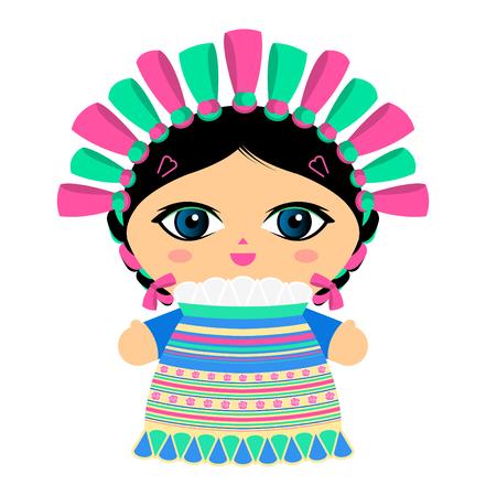 Ilustración de vector de muñeca mexicana Ilustración de vector