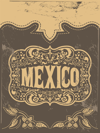 Mexico western style, mexican theme vector poster card template