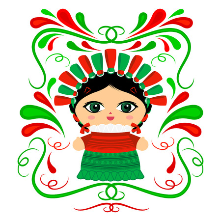Mexican Doll with decorative ornaments vector illustration Stock Illustratie