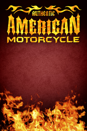 American motorcycle grunge poster with realistic flames, card and poster design copy space Stock Photo