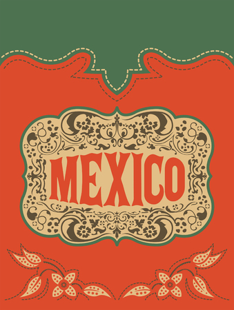 Mexico western style, mexican theme vector poster card template 版權商用圖片 - 107652793