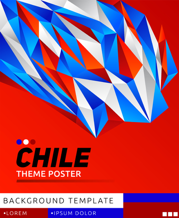 Chile theme modern poster, vector template illustration, chilean flag colors