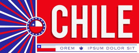 Chile patriotic banner design, typographic vector illustration, chilean flag colors