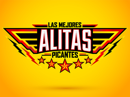 Alitas Picantes Las Mejores, The best Hot Chicken Wings spanish text, military style premium food emblem 向量圖像