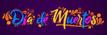 Dia de Muertos, jour des morts illustration vectorielle de texte espagnol lettrage