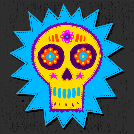 Skull Candy vector illustration, day of the dead floral elements hand craftsmanship style 스톡 콘텐츠 - 108960996