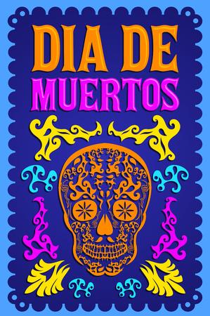 Dia de Muertos, jour de la mort texte espagnol design décoration vecteur coloré Vecteurs
