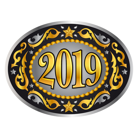 2019 cowboy  western style new year oval belt buckle, vector illustration Ilustrace