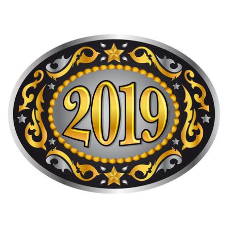 2019 vaquero estilo occidental año nuevo hebilla de cinturón ovalada, ilustración vectorial Ilustración de vector