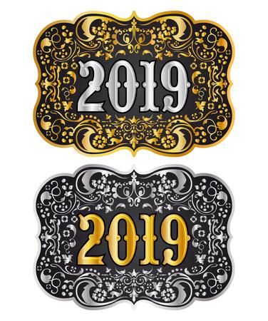 Hebilla de cinturón de vaquero de año nuevo 2019 diseño dorado y plateado, insignia occidental 2019 Ilustración de vector