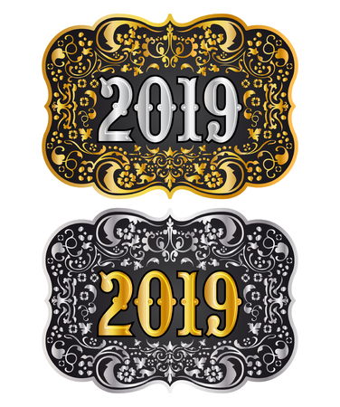 2019 New year Cowboy belt buckle gold and silver design, 2019 western badge