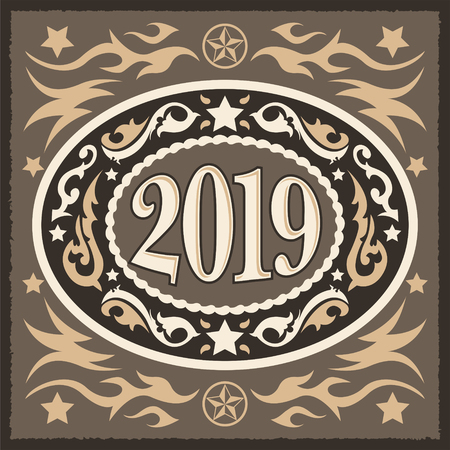 2019 cowboy  western style new year oval belt buckle, vector illustration  イラスト・ベクター素材