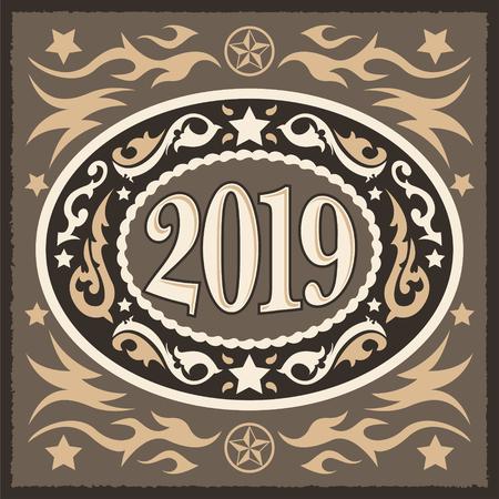 Hebilla de cinturón ovalada de año nuevo de estilo occidental de vaquero 2019, ilustración vectorial Ilustración de vector