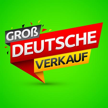 Groß Deutsche Verkauf, German big sale translation, vector modern colorful banner. 向量圖像