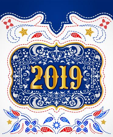 2019 Cowboy belt buckle gold and silver design, western badge decorative background