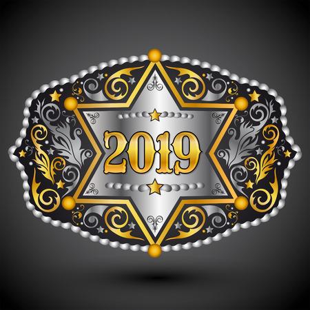 Hebilla de cinturón de vaquero occidental de año 2019 con diseño de vector de insignia de sheriff