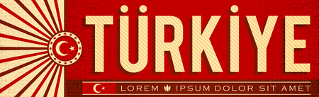 Turkiye, Turkey patriotic banner design, typographic vector illustration, Turkish flag colors