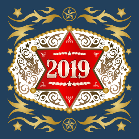 2019 year western cowboy belt buckle with sheriff badge vector design Ilustrace