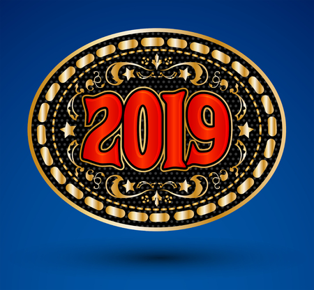 2019 western cowboy belt buckle vector illustration