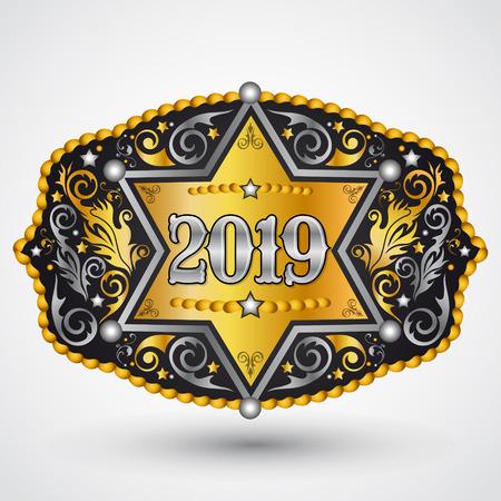 Hebilla de cinturón de vaquero occidental de año 2019 con diseño de vector de insignia de sheriff Ilustración de vector