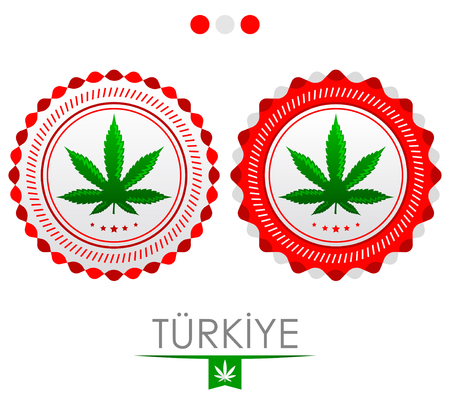 Turkiye Turkey marijuana emblem, vector cannabis seal of approval with the colors of the flag of Turkey