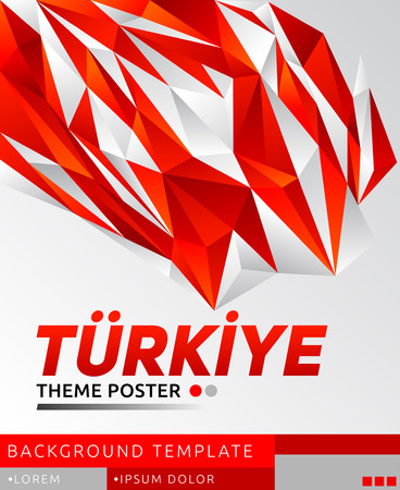 Turkiye Turkey theme modern poster, vector template illustration, turkish flag colors Illustration