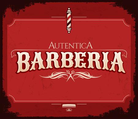 Barberia Autentica, Authentic Barbershop spanish text, vintage vector emblem design
