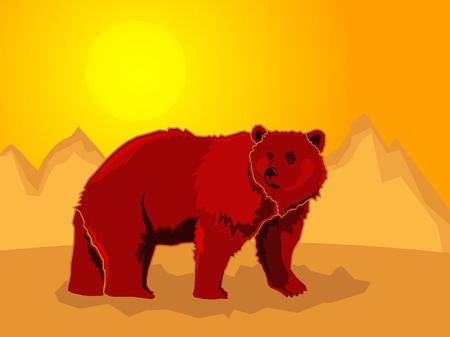 Bear on a stylized mountain background, Vector illustration