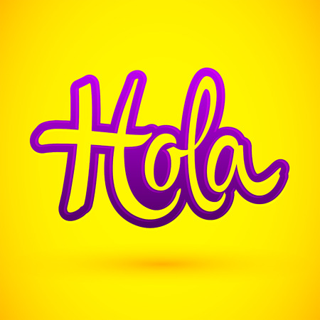 Hola, hello spanish text vector lettering illustration 版權商用圖片 - 114366514