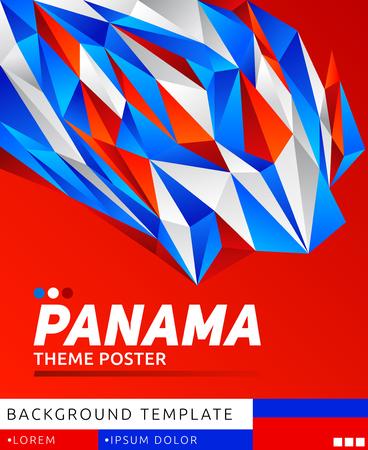 Panama theme modern poster, vector template illustration, panamanian flag colors Ilustração