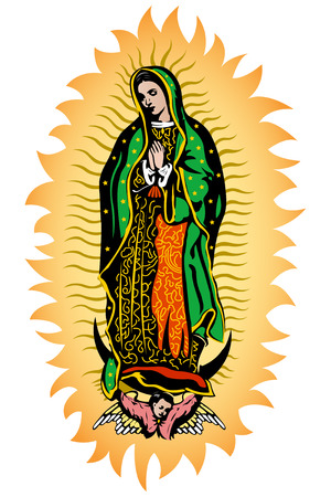 Virgin of Guadalupe, Mexican Virgen de Guadalupe color vector illustration Çizim