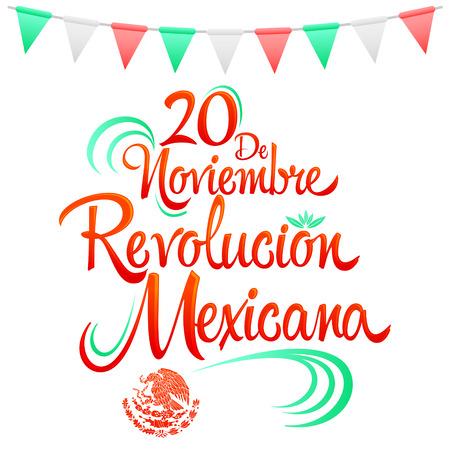 20 de Noviembre Revolucion Mexicana,  November 20 Mexican Revolution Spanish text, Traditional mexican Holiday Illustration