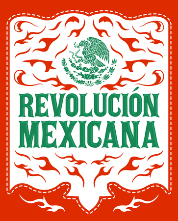 Revolucion Mexicana, mexican revolution spanish text, holiday vector poster