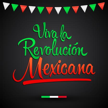 Viva la Revolucion Mexicana, Long live Mexican Revolution Spanish text, Traditional mexican Holiday Vector Illustration