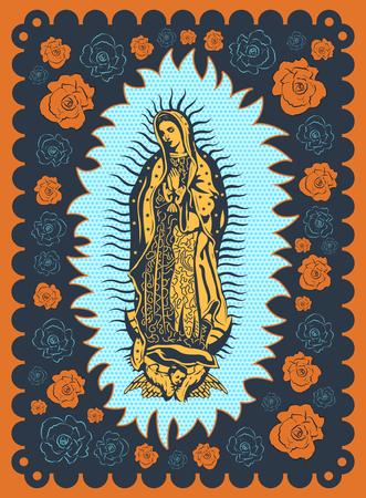 Maagd van Guadalupe vintage zeefdruk stijl poster illustratie