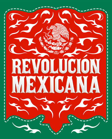 Revolucion Mexicana, mexican revolution spanish text, holiday vector poster Çizim