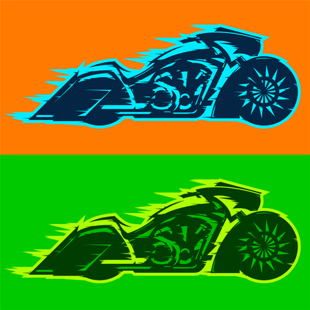 Motorcycle vector illustration, custom motorbike covered in flames